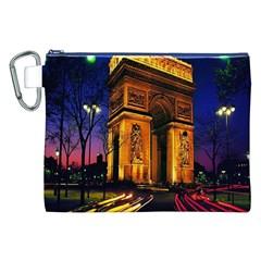 Paris Cityscapes Lights Multicolor France Canvas Cosmetic Bag (XXL)