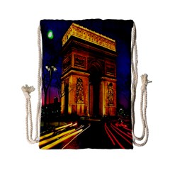 Paris Cityscapes Lights Multicolor France Drawstring Bag (small) by Onesevenart