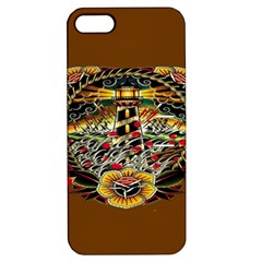Tattoo Art Print Traditional Artwork Lighthouse Wave Apple Iphone 5 Hardshell Case With Stand by Onesevenart