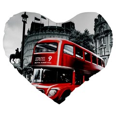 London Bus Large 19  Premium Flano Heart Shape Cushions