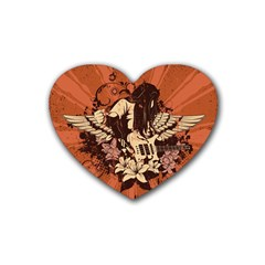 Rock Music Moves Me Rubber Coaster (heart)  by Onesevenart
