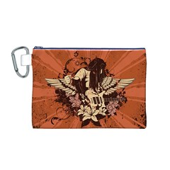 Rock Music Moves Me Canvas Cosmetic Bag (m) by Onesevenart