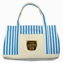 Tattoo Art Print Traditional Artwork Lighthouse Wave Striped Blue Tote Bag by Onesevenart