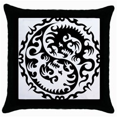 Ying Yang Tattoo Throw Pillow Case (black) by Onesevenart