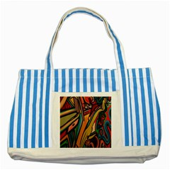 Vivid Colours Striped Blue Tote Bag by Onesevenart