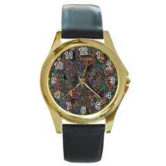 Trees Internet Multicolor Psychedelic Reddit Detailed Colors Round Gold Metal Watch by Onesevenart