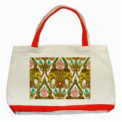Traditional Thai Style Painting Classic Tote Bag (red) by Onesevenart