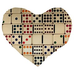 Old Domino Stones Large 19  Premium Flano Heart Shape Cushions by Onesevenart