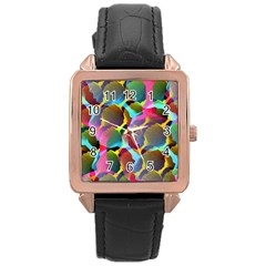 3d Pattern Mix Rose Gold Leather Watch  by Onesevenart