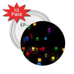 Abstract 3d Cg Digital Art Colors Cubes Square Shapes Pattern Dark 2 25  Buttons (10 Pack)  by Onesevenart