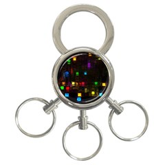 Abstract 3d Cg Digital Art Colors Cubes Square Shapes Pattern Dark 3 Ring Key Chains by Onesevenart