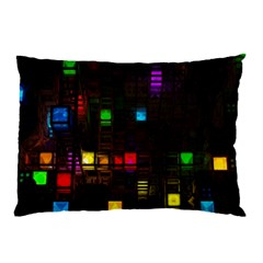 Abstract 3d Cg Digital Art Colors Cubes Square Shapes Pattern Dark Pillow Case by Onesevenart