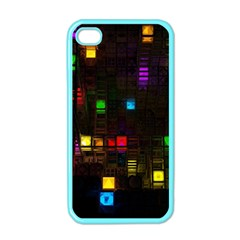 Abstract 3d Cg Digital Art Colors Cubes Square Shapes Pattern Dark Apple iPhone 4 Case (Color)
