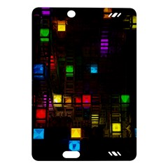 Abstract 3d Cg Digital Art Colors Cubes Square Shapes Pattern Dark Amazon Kindle Fire Hd (2013) Hardshell Case by Onesevenart