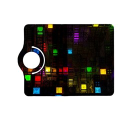 Abstract 3d Cg Digital Art Colors Cubes Square Shapes Pattern Dark Kindle Fire Hd (2013) Flip 360 Case by Onesevenart