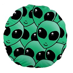 Alien Large 18  Premium Flano Round Cushions by Onesevenart