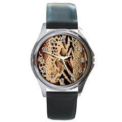 Animal Fabric Patterns Round Metal Watch by Onesevenart