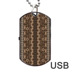 African Style Vector Pattern Dog Tag Usb Flash (two Sides) by Onesevenart