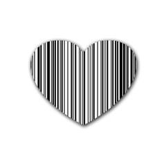 Barcode Pattern Heart Coaster (4 Pack)  by Onesevenart