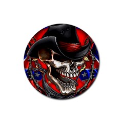 Confederate Flag Usa America United States Csa Civil War Rebel Dixie Military Poster Skull Rubber Coaster (round)  by Onesevenart