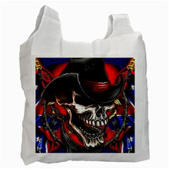 Confederate Flag Usa America United States Csa Civil War Rebel Dixie Military Poster Skull Recycle Bag (one Side) by Onesevenart