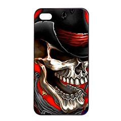 Confederate Flag Usa America United States Csa Civil War Rebel Dixie Military Poster Skull Apple Iphone 4/4s Seamless Case (black) by Onesevenart