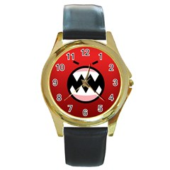 Funny Angry Round Gold Metal Watch by Onesevenart