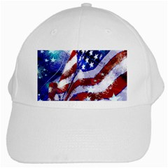 Flag Usa United States Of America Images Independence Day White Cap by Onesevenart