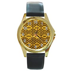 Golden Pattern Fabric Round Gold Metal Watch