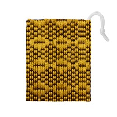 Golden Pattern Fabric Drawstring Pouches (large)  by Onesevenart
