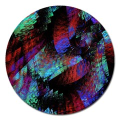Native Blanket Abstract Digital Art Magnet 5  (round) by Onesevenart
