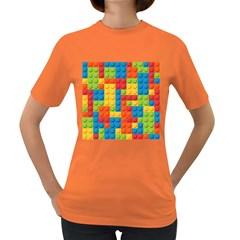Lego Bricks Pattern Women s Dark T-Shirt by Onesevenart