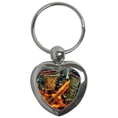 Hdri City Key Chains (heart)  by Onesevenart