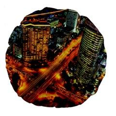 Hdri City Large 18  Premium Flano Round Cushions by Onesevenart