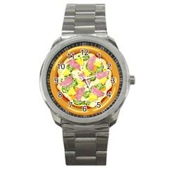 Pizza Clip Art Sport Metal Watch by Onesevenart