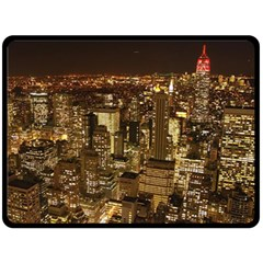 New York City At Night Future City Night Double Sided Fleece Blanket (large)  by Onesevenart