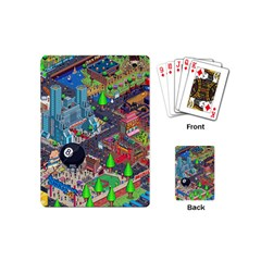 Pixel Art City Playing Cards (mini)  by Onesevenart