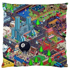 Pixel Art City Large Flano Cushion Case (two Sides) by Onesevenart