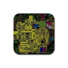 Technology Circuit Board Rubber Square Coaster (4 Pack)  by Onesevenart