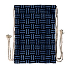 Woven1 Black Marble & Blue Denim Drawstring Bag (large) by trendistuff