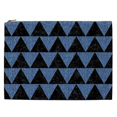Triangle2 Black Marble & Blue Denim Cosmetic Bag (xxl) by trendistuff