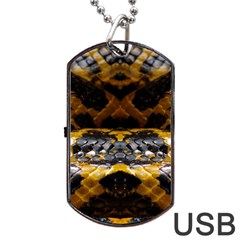 Textures Snake Skin Patterns Dog Tag Usb Flash (two Sides) by Onesevenart