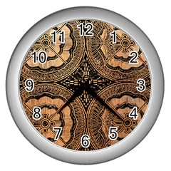 The Art Of Batik Printing Wall Clocks (silver)  by Onesevenart