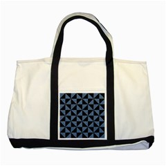 Triangle1 Black Marble & Blue Denim Two Tone Tote Bag by trendistuff
