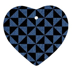 Triangle1 Black Marble & Blue Denim Heart Ornament (two Sides) by trendistuff