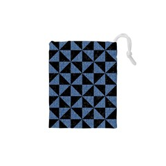 Triangle1 Black Marble & Blue Denim Drawstring Pouch (xs) by trendistuff