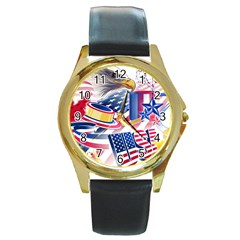 United States Of America Usa  Images Independence Day Round Gold Metal Watch by Onesevenart