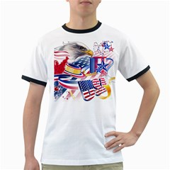 United States Of America Usa  Images Independence Day Ringer T Shirts by Onesevenart