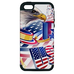 United States Of America Usa  Images Independence Day Apple Iphone 5 Hardshell Case (pc+silicone) by Onesevenart