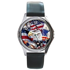 United States Of America Images Independence Day Round Metal Watch by Onesevenart